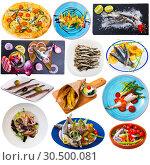 Купить «Tasty different dishes with horse-mackerel and sardines at plates isolated», фото № 30500081, снято 19 июля 2019 г. (c) Яков Филимонов / Фотобанк Лори