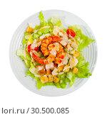 Купить «Caesar salad with shrimps, lettuce, sauce and cheese, nobody», фото № 30500085, снято 7 июля 2020 г. (c) Яков Филимонов / Фотобанк Лори