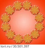 Frame from brown flowers on red background. Стоковая иллюстрация, иллюстратор Александр Птах / Фотобанк Лори