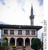 Купить «Exterior view to Spotted Mosque Alaca Cami Kalkandelen aka painted mosque, Tetovo, North Macedonia», фото № 30503297, снято 7 мая 2017 г. (c) Сергей Майоров / Фотобанк Лори