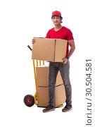 Купить «Young male courier with box», фото № 30504581, снято 9 ноября 2018 г. (c) Elnur / Фотобанк Лори