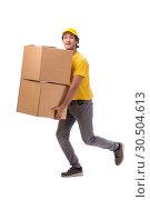 Купить «Young male courier with box», фото № 30504613, снято 9 ноября 2018 г. (c) Elnur / Фотобанк Лори
