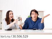 Купить «Young couple in budget planning concept», фото № 30506529, снято 22 января 2019 г. (c) Elnur / Фотобанк Лори