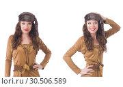 Купить «Woman in brown dress isolated on white», фото № 30506589, снято 28 февраля 2020 г. (c) Elnur / Фотобанк Лори