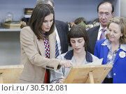Купить «Queen Letizia of Spain visits the School of Engraving and Graphic Design and delivery the awards of Graduation to the 7th promotion of the 'Master in Engraving...», фото № 30512081, снято 8 апреля 2019 г. (c) age Fotostock / Фотобанк Лори