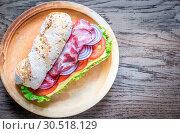 Купить «Sandwich with ham, cheese and fresh vegetables», фото № 30518129, снято 17 января 2016 г. (c) easy Fotostock / Фотобанк Лори
