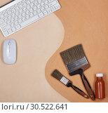 Купить «Painting accessories. Background for construction or design office», фото № 30522641, снято 24 марта 2019 г. (c) Мельников Дмитрий / Фотобанк Лори