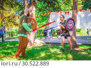 Купить «Russia, Samara, September 2018: Spectacular staged battles of Slavic warriors and knights at the festival in Zagorodny Park.», фото № 30522889, снято 16 сентября 2018 г. (c) Акиньшин Владимир / Фотобанк Лори