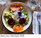 Купить «Salad with lettuce, endive, palms hearts, avocado and radish», фото № 30523705, снято 26 августа 2019 г. (c) Яков Филимонов / Фотобанк Лори