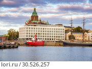 Купить «Helsinki harbor at evening», фото № 30526257, снято 9 октября 2015 г. (c) Sergey Borisov / Фотобанк Лори