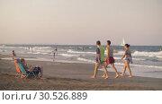 Купить «People bathing in the sea and relaxing on beach in Valencia, Spain», видеоролик № 30526889, снято 5 июля 2018 г. (c) Данил Руденко / Фотобанк Лори