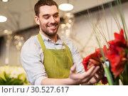 Купить «florist or seller with amaryllis at flower shop», фото № 30527617, снято 27 марта 2016 г. (c) Syda Productions / Фотобанк Лори