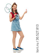 Купить «teenager with badminton rackets and shuttlecock», фото № 30527813, снято 30 июня 2018 г. (c) Syda Productions / Фотобанк Лори