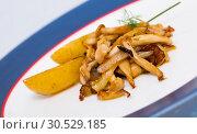 Купить «Delicious cooked fried shitake mushrooms with baby-potatoes», фото № 30529185, снято 19 апреля 2019 г. (c) Яков Филимонов / Фотобанк Лори
