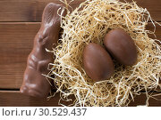 Купить «chocolate bunny and eggs in straw nest on wood», фото № 30529437, снято 22 марта 2018 г. (c) Syda Productions / Фотобанк Лори