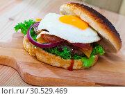 Купить «Cheeseburger with beef patty, fried egg, bacon, vegetables», фото № 30529469, снято 20 апреля 2019 г. (c) Яков Филимонов / Фотобанк Лори