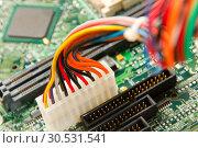 Купить «Computer motherboard power lines», фото № 30531541, снято 29 июля 2010 г. (c) Tryapitsyn Sergiy / Фотобанк Лори