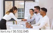 Купить «recruiters having interview with employee», видеоролик № 30532045, снято 29 марта 2019 г. (c) Syda Productions / Фотобанк Лори