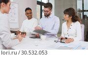 Купить «recruiters having interview with employee», видеоролик № 30532053, снято 29 марта 2019 г. (c) Syda Productions / Фотобанк Лори