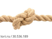 Close-up of rope with knot. Стоковое фото, фотограф Tryapitsyn Sergiy / Фотобанк Лори