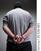 Big criminal locked in handcuffs. Стоковое фото, фотограф Tryapitsyn Sergiy / Фотобанк Лори
