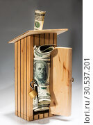 Купить «Wooden moneybox full of money», фото № 30537201, снято 20 мая 2011 г. (c) Tryapitsyn Sergiy / Фотобанк Лори