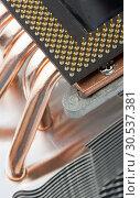 Купить «Modern computer processor with big cooler», фото № 30537381, снято 14 июня 2011 г. (c) Tryapitsyn Sergiy / Фотобанк Лори