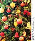 Купить «Christmas ornaments on a tree», фото № 30537917, снято 27 декабря 2011 г. (c) Tryapitsyn Sergiy / Фотобанк Лори