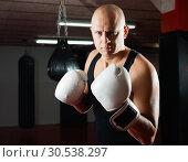 Купить «Potrait of man boxer who is training in gym», фото № 30538297, снято 28 января 2019 г. (c) Яков Филимонов / Фотобанк Лори