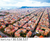 Купить «Aerial view of Eixample district, Barcelona», фото № 30538537, снято 30 октября 2018 г. (c) Яков Филимонов / Фотобанк Лори