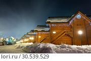 Купить «Ski chalets at night», фото № 30539529, снято 11 февраля 2013 г. (c) Tryapitsyn Sergiy / Фотобанк Лори