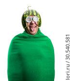 Купить «Funny man with watermelon helmet and googles», фото № 30540581, снято 19 сентября 2013 г. (c) Tryapitsyn Sergiy / Фотобанк Лори