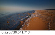 Купить «Sea foam at the beach of the Aral Sea near Aktumsuk cape at sunset, Karakalpakstan, Uzbekistan», фото № 30541713, снято 27 апреля 2017 г. (c) Сергей Майоров / Фотобанк Лори