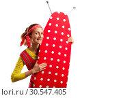 Купить «Smiling housewife with ironing-board», фото № 30547405, снято 7 декабря 2013 г. (c) Tryapitsyn Sergiy / Фотобанк Лори