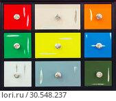 Купить «Detail of colorful doors with nice handles», фото № 30548237, снято 29 мая 2014 г. (c) Tryapitsyn Sergiy / Фотобанк Лори