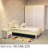 Купить «Nice bed in child's bedroom», фото № 30548329, снято 29 мая 2014 г. (c) Tryapitsyn Sergiy / Фотобанк Лори