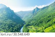 Mountain valley with beautiful blue sky. Стоковое фото, фотограф Tryapitsyn Sergiy / Фотобанк Лори