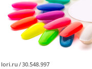 Купить «Samples of nail varnishes», фото № 30548997, снято 30 июля 2014 г. (c) Tryapitsyn Sergiy / Фотобанк Лори