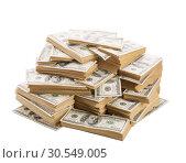 Купить «Stack of dollars banknotes isolated on white», фото № 30549005, снято 30 июля 2014 г. (c) Tryapitsyn Sergiy / Фотобанк Лори