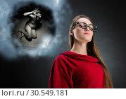 Купить «Pensive woman and cloud with her thoughts», фото № 30549181, снято 10 сентября 2014 г. (c) Tryapitsyn Sergiy / Фотобанк Лори