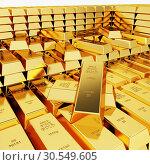 Купить «Great amount of gold bars», фото № 30549605, снято 6 декабря 2019 г. (c) Tryapitsyn Sergiy / Фотобанк Лори