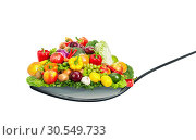 Spoon full of various fruit and vegetables. Стоковое фото, фотограф Tryapitsyn Sergiy / Фотобанк Лори