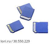 Купить «Four sd memory cards on white», фото № 30550229, снято 19 ноября 2014 г. (c) Tryapitsyn Sergiy / Фотобанк Лори