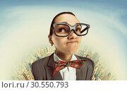 Funny dreaming nerd girl. Стоковое фото, фотограф Tryapitsyn Sergiy / Фотобанк Лори
