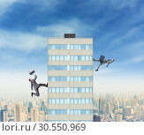 Businessman and businesswoman running to the top. Стоковое фото, фотограф Tryapitsyn Sergiy / Фотобанк Лори