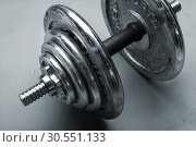 Old dumbbells weight. Стоковое фото, фотограф Tryapitsyn Sergiy / Фотобанк Лори