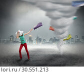 Купить «Woman and shopping tornado», фото № 30551213, снято 8 марта 2015 г. (c) Tryapitsyn Sergiy / Фотобанк Лори