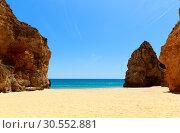 Купить «Rocky cliffs on the seashore», фото № 30552881, снято 18 июля 2015 г. (c) Tryapitsyn Sergiy / Фотобанк Лори