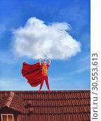Купить «Little girl in costume holding a big cloud», фото № 30553613, снято 19 июля 2019 г. (c) Tryapitsyn Sergiy / Фотобанк Лори