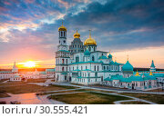 Купить «Resurrection Cathedral of New Jerusalem Monastery at sunset, Russia», фото № 30555421, снято 11 апреля 2019 г. (c) photoff / Фотобанк Лори